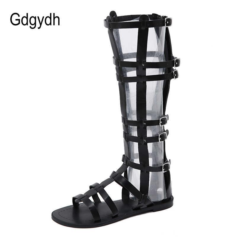 Gdgydh verano sandalias zapatos de mujer de Roma Peep Toe mujer botas sobre la rodilla cremallera recortes serpiente mujeres de piel zapatos de envío de la gota