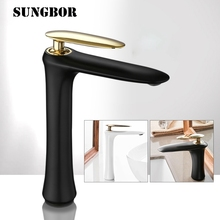 Basin Faucet Hot Cold Water Brass Black white chrome Bathroom Mixer Tap Single Handle Basin Water Sink Mixer Tap Crane AL-7280H