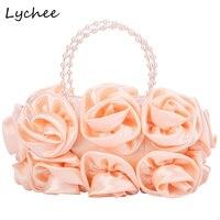 Lychee Women Floral Totes Satin Pearls Handle Bridal Wedding Rose Evening Bag Clutch Inner Pocket Zipper Female Lady Handbag