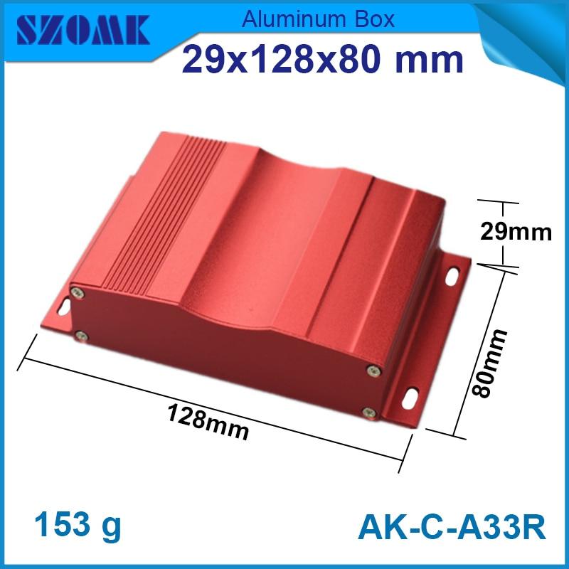 где купить 10 pcs/lot red color new arrival custom hammond metal enclosures 29(H)x128(W)x80(L) mm small aluminum box aluminum enclosure по лучшей цене