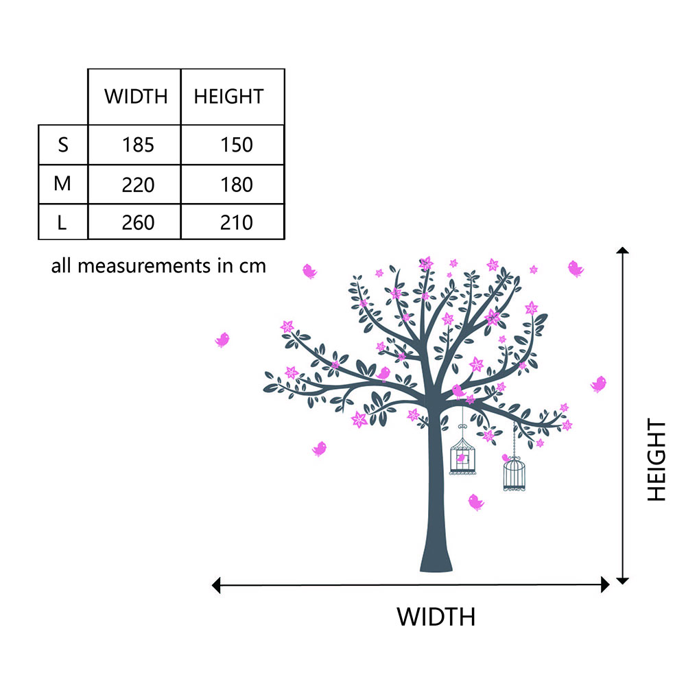 Tree with Blossom and Birds Wall Decal Tree Birds Wall Sticker For Kid's Room Nursery Tree Sticker 749T - 3