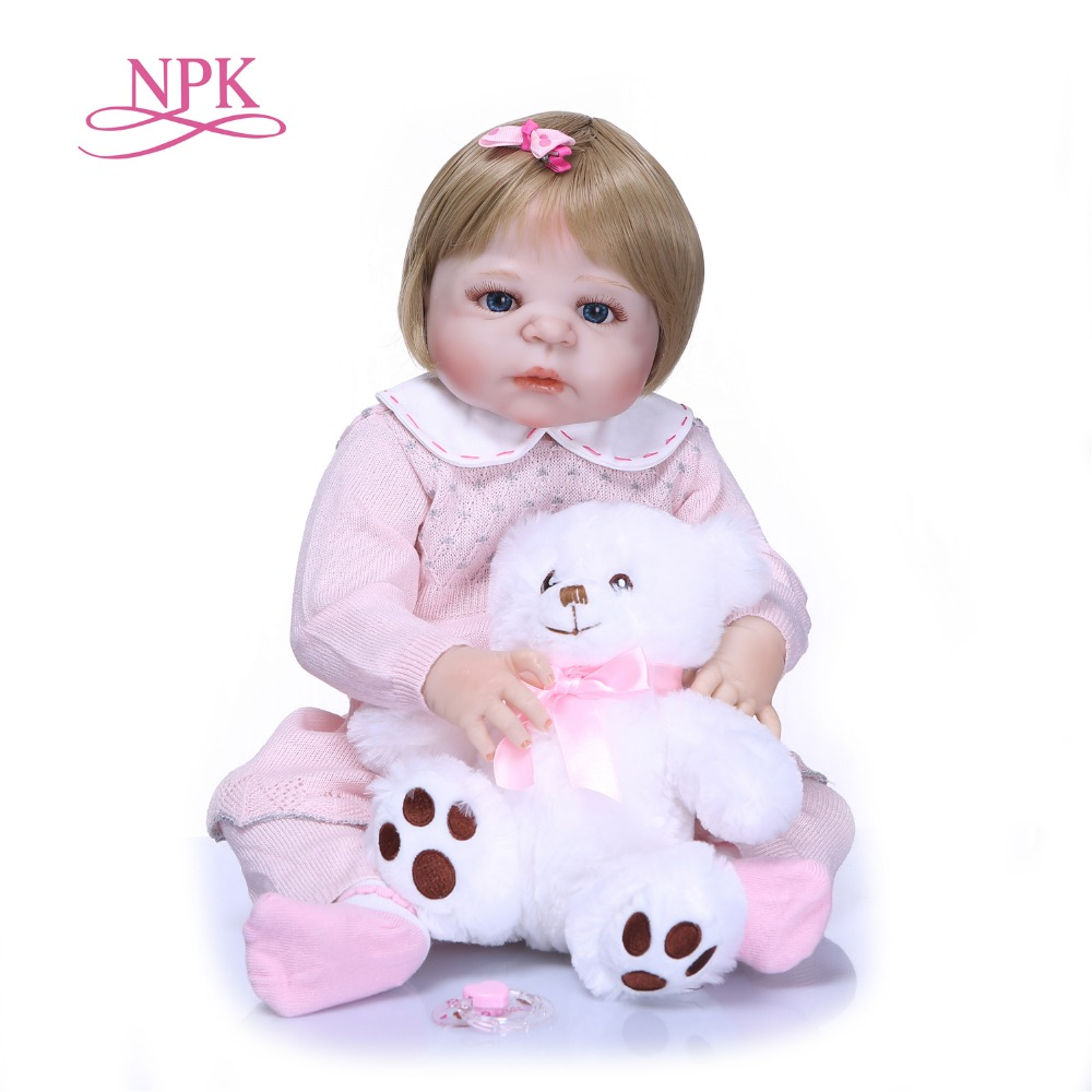 NPK Full Body Silicone Vinyl Adorable Lifelike Toddler Baby Bonecas Girl Kid Bebe Reborn Dolls Bebe Reborn Alive Doll Girls Toys npk 50cm 100% full silicone silicone reborn baby girl dolls lifelike fake baby doll bebe alive reborn bonecas children toys