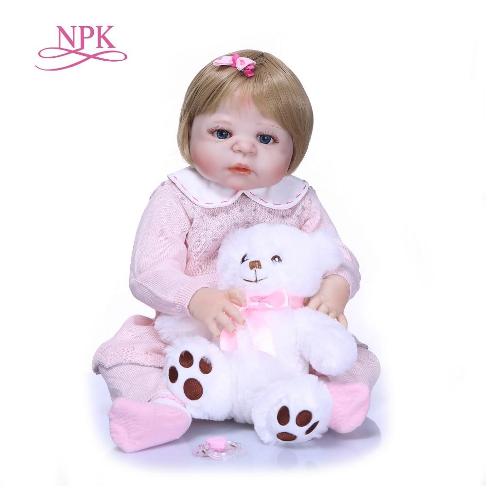 NPK de cuerpo completo de silicona de vinilo Adorable realista bebé Bonecas chica chico Bebes Reborn muñecas Bebes Reborn Alive Doll Girl juguete-in Muñecas from Juguetes y pasatiempos    1