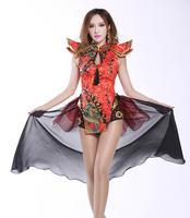 Sexy Bodysuit Ds Costume Vintage Chinese Traditional Costume Nightclub Bar Dj Female Singer Performance Wear Twirled