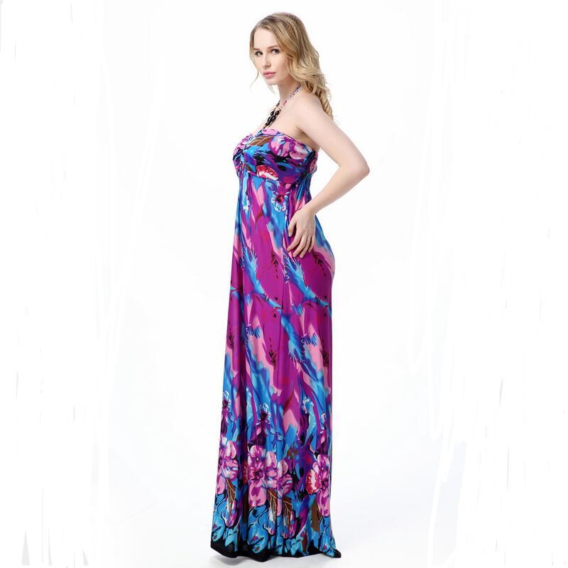 be72d22986 Xl-7xl! mujeres verano vestido Maxi vestido sexy cuello redondo sin  tirantes playa vestir Fertilizantes hielo vestido de seda