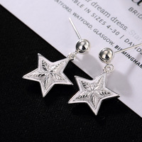 S925 Pure Silver Simple White Star Ear Nails Individual Moisture Anti allergy Women's Silver Ear Ornaments Wholesale