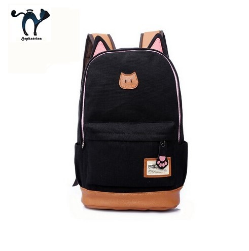 Cute Cat Ear Cartoon Women Canvas Backpack Brand School Bags for Teenagers Girls School Backpacks Children backpacks