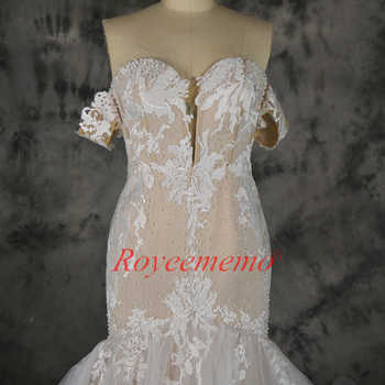 2019 hot sale lace mermaid detachable sleeves Wedding Dress nude satin Bridal gown custom made wedding gown factory directly