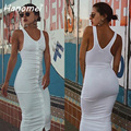 New Sexy Sleeveless Ribbed Vest Vestidos High Waist Long Tank Dress 2017 Fitted Bodycon Robe Femme Buttons Women Dresses C56