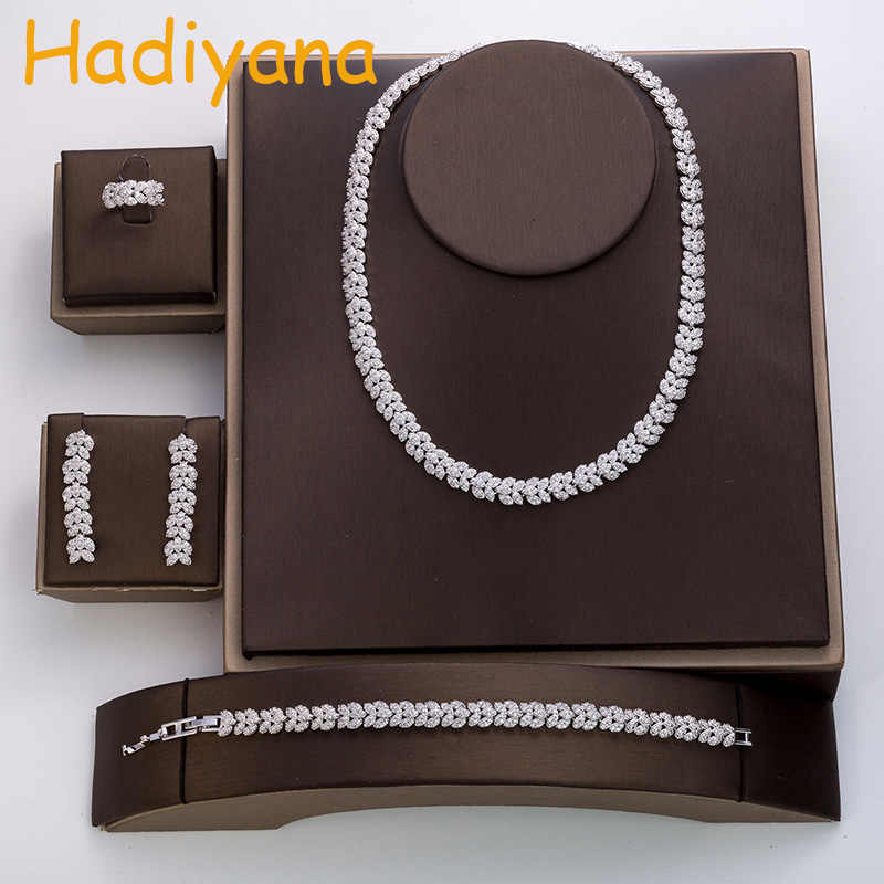 Hadiyana fashion cubic zircon wedding jewelry rose suit women's hot wedding accessories crystal set of 4 jewelry TZ8046