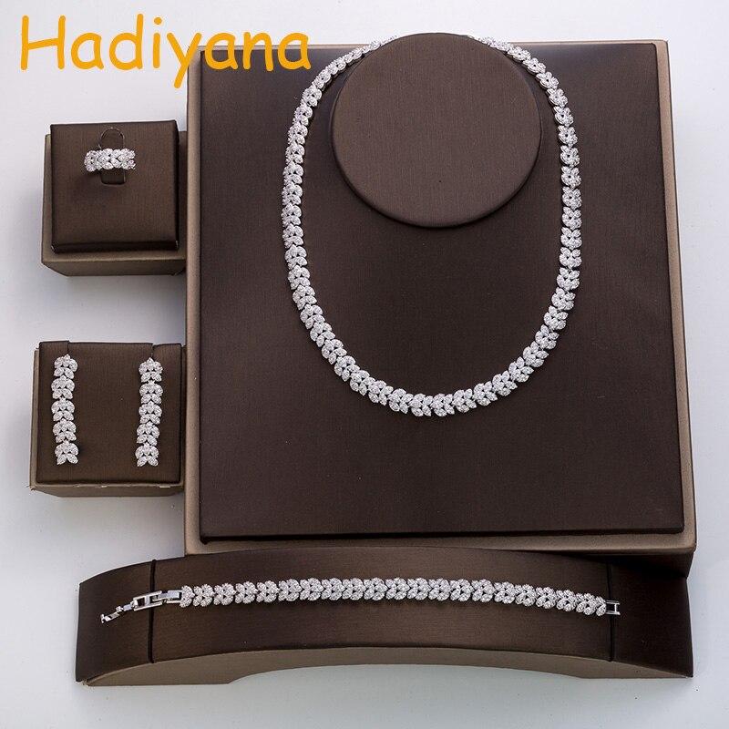 Hadiyana mode cubique zircon bijoux de mariage costume rose femmes chaud accessoires de mariage cristal ensemble de 4 bijoux TZ8046