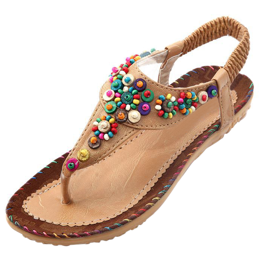 Flat Sandals Ankle T-strap Fashion Trend Sandals Bohemia Flat Heel Beaded Female shoes size 5 beige