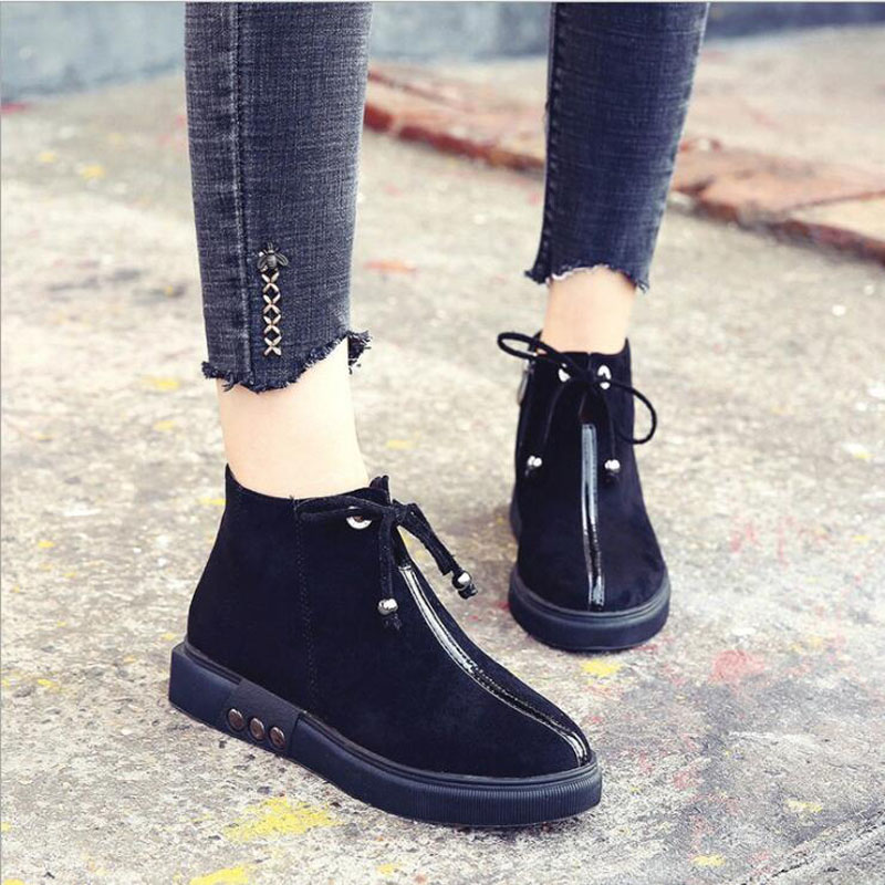 Fashion  new ladies autumn and winter womens boots short boots outdoor casual solid color Sewing Flat with Women Fashion  new ladies autumn and winter womens boots short boots outdoor casual solid color Sewing Flat with Women
