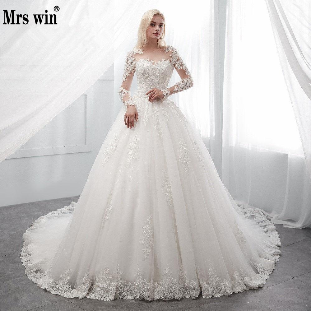 Vintage Wedding Dress 2019 New Mrs Win Full Sleeve Lace