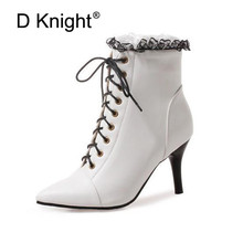 цена на D Knight New Winter Women Ankle Boots High Thin Heel Sexy Lady Pointed Toe Women Shoes Elegent Lace Up Snow Boots Big Size 32-48