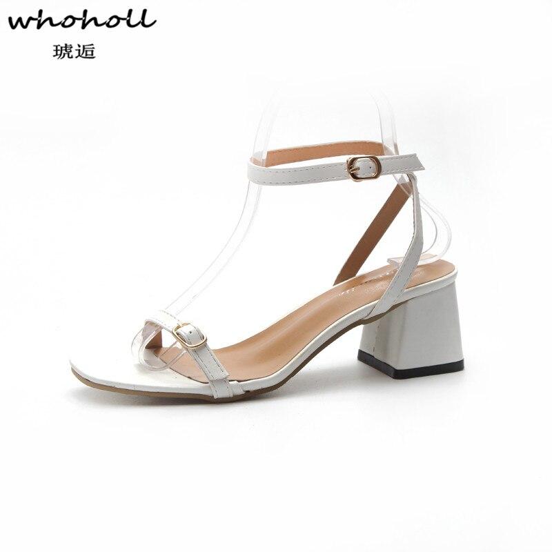 WHOHOLL 2018 Summer Women Sandals Open Toe Flip Flops Womens Sandles Mid Square Heel Women Shoes Korean Style Gladiator Shoes