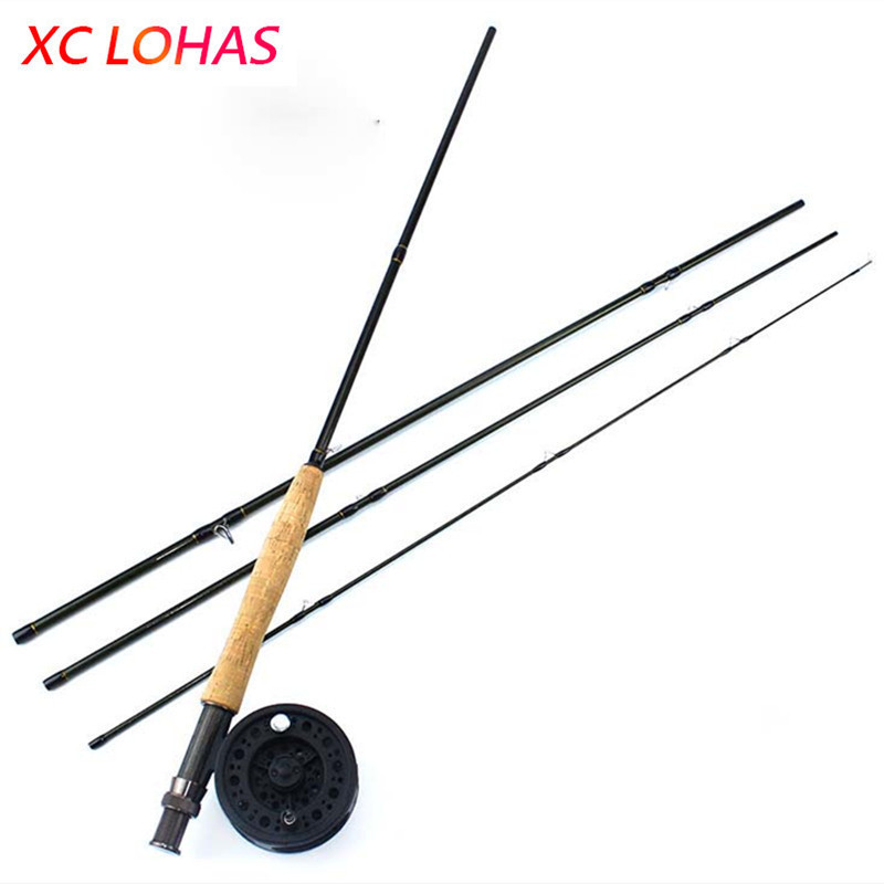 Brand Quality 4 Seciton Carbon Fly Fishing Rod Medium Action Fishing Pole 9FT 2.7M Spinning Fishing Rod Line Weight 5WT