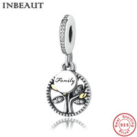 INBEAUT Women Wedding Chain Necklace Zircon Pendant 925 Sterling Silver Family Tree Charm Fit Pandora Bracelet