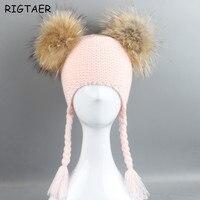 طفل بنين و بنات القبعات الأطفال الراكون الشعر الكرة قبعة مزدوجة آذان الكرة تويست جديلة قبعة بينيس الحياكة الصوف الدافئة هات pompom