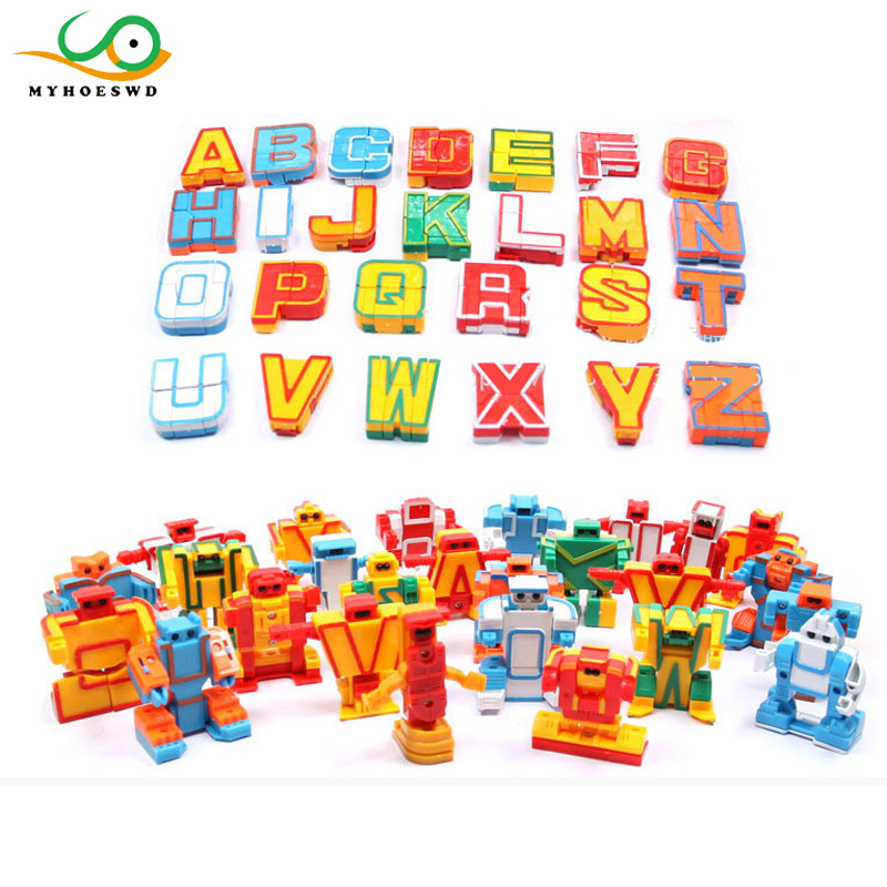 MYHOESWD Transformation Letter Kid Classic Robot Toys For Children Action Toy Figures Plastic Education Deformation Boys Gifts 7 pcs set with original package transformation robot cars and prime toys action figures classic toys for kids christmas gifts
