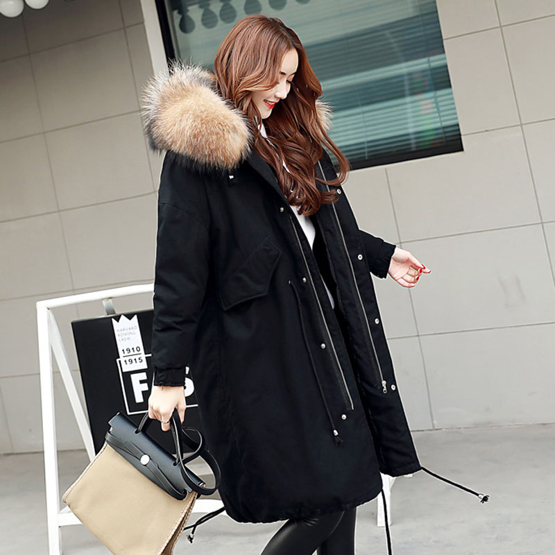 Large Natural Raccoon Fur Collar 2017 Winter Jacket Women Thick Parka Long Loose size Coat outwear Female Parkas Army Green new fashion winter jacket women 2017 large real natural raccoon fur collar hooded jacket thick coat for women outwear down parka