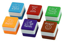 6pcs handmade material square teacher stamps English teacher comment seal encourage