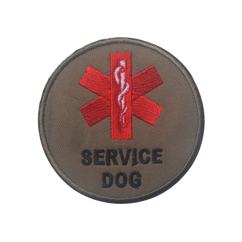 Initiative Embroidery Patch Service Dog Round Medic Applique Emblem Badges Tactical Military Embroidery Morale Patch Yellow/brown/green 8cm Consumers First Rock & Pop Entertainment Memorabilia