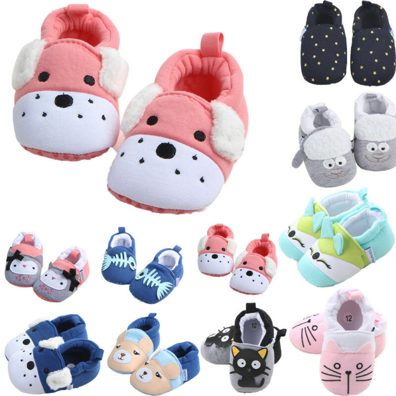 2019 New Cartoon Baby Shoes Boy Girl Soft Sole Animal Crib Shoes Slip On Cotton First Walker Shoes Size For 3-11month Baby