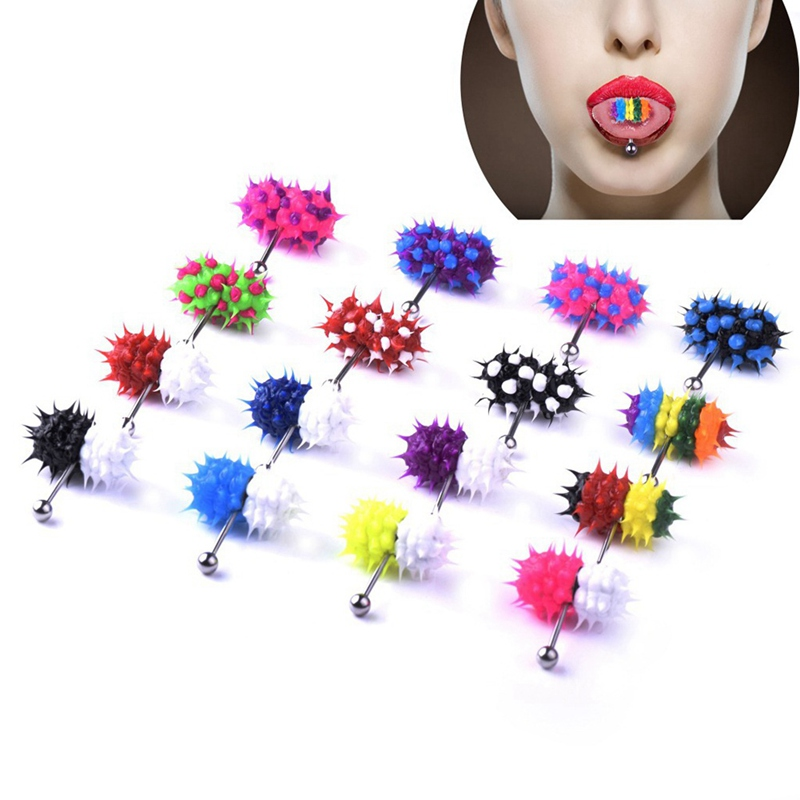 1PC Fashion Women Men Rubber Stainless Steel Barbell Vibrating Tongue Bar Body Piercing Stud Ring Punk Jewelry