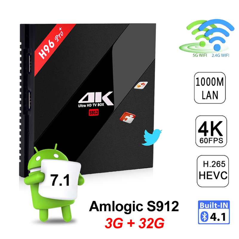 DHL H96 Pro Plus 3G 32G Android 7 1 TV Box Amlogic S912 Octa Core 3GB