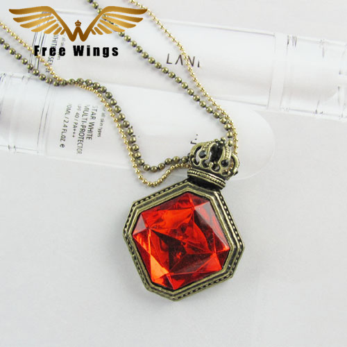 Retro Crown Carved Inlaid Pendant Sweater chain Necklace Women Jewelry Brand Wholesale For Christmas Gift B1D5/20D