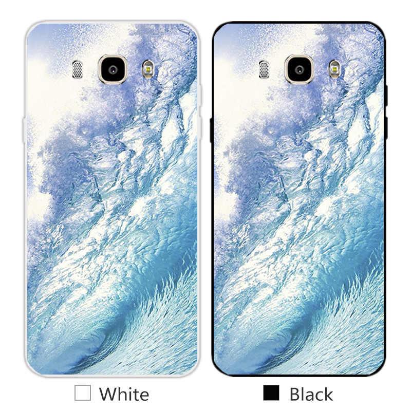 """لسامسونج غالاكسي j7 2016 حالات الهاتف 5.5 """"ل J7108 J7109 أمواج البحر تصميم لينة tpu سيليكون الغلاف الخلفي لسامسونج j7 2016"""