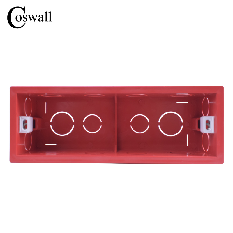 Coswall Mounting Box Internal Cassette 186mm*67.5mm*50mm For 197mm*72mm Standard Switch And Socket Red Color