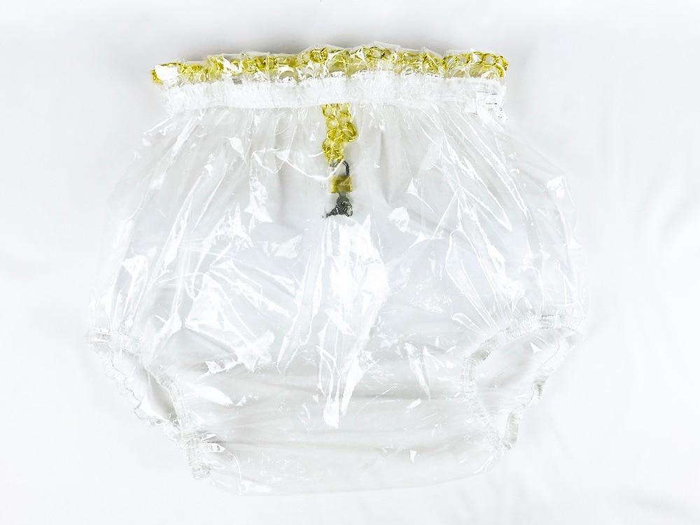 2 piezas * Pantalones de plástico con cierre a presión Haian ABDL Color Vidrio transparente # P016-9