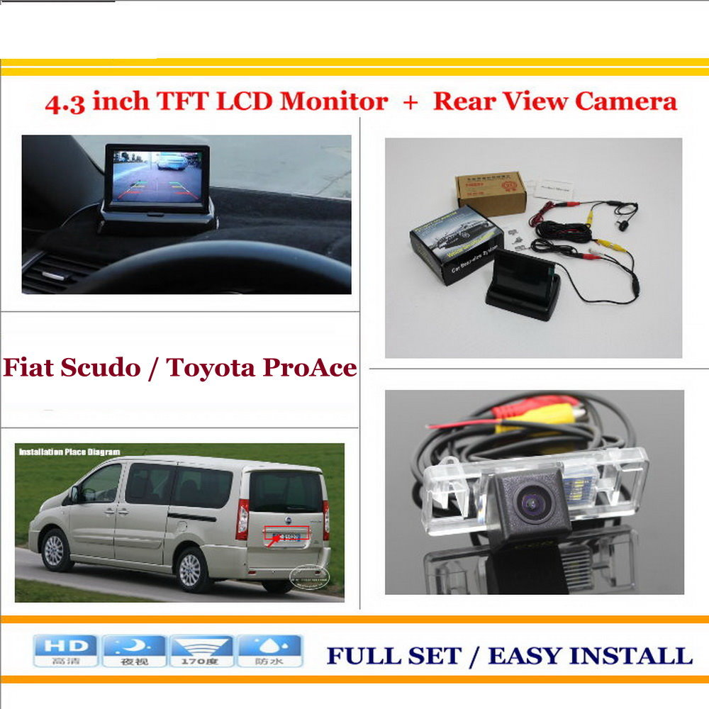 Car Reverse Backup Rear Camera + 4.3 TFT LCD Screen Monitor = 2 in 1 Rearview Parking System  For Fiat Scudo /For Toyota ProAce