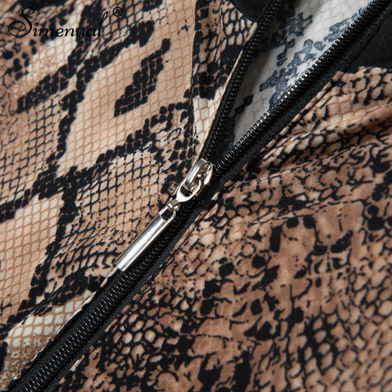 Simenual змеиный принт Боди Комбинезоны Мода 2018 зима бинты женские комбинезоны длинные штаны Змеиный пэчворк Комбинезоны сексуальные