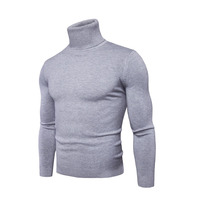 2017 Turtleneck Sweater Men Autumn Winter Pure Color Sweaters Slim High Neck Long Sleeve Knitted Sweater