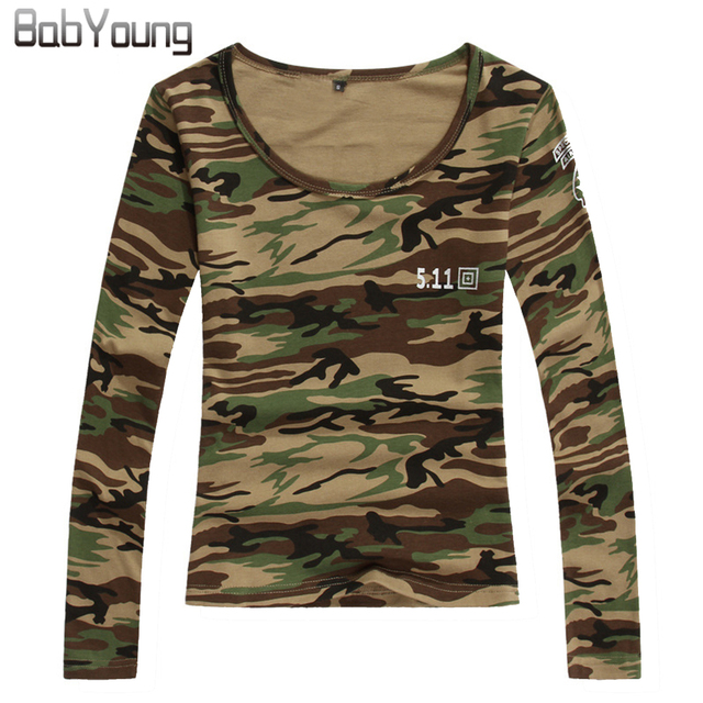 BabYoung 2017 Spring Women Tops Letter US Army T Shirt Camouflage Military  Tee Shirt Femme Long 2cd7ea815