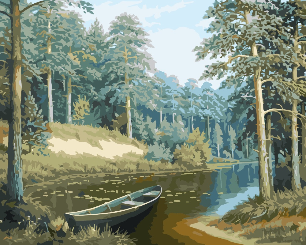 MaHuaf i048 pine trees boat landscape coloring by numbers diy ...