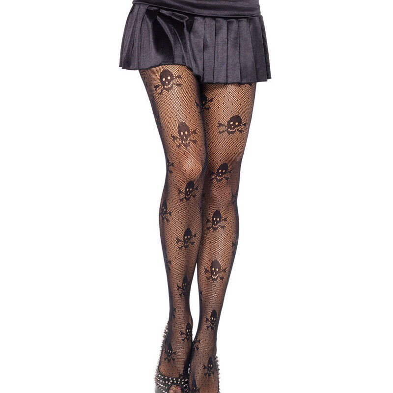 Adult Women Halloween Skull Skeleton Bone Print Pantyhose Black Jacquard Micro Net Mesh Hollow Tights Stockings Hosiery For Lady