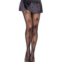 f835ec974f Adult Women Halloween Skull Skeleton Bone Print Pantyhose Black Jacquard  Micro Net Mesh Hollow Tights Stockings