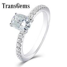 Transgems 1ct قيراط مويسانيتي 5X7 مللي متر Silght الأزرق اللون خاتم الخطوبة 10 K الذهب الأبيض للنساء الزفاف هدية مع لهجات