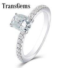 Transgems 1ct Carat Moissanite 5X7 MM Silght niebieski kolor pierścionek zaręczynowy 10 K białe złoto dla kobiet ślub prezent z akcenty