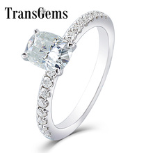 Transgems 1ct Carat Moissanite 5X7MM Silght Blue Color Engagement Ring 10K White Gold for Women Wedding Gift with Accents