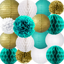 NICROLANDEE 16 pcs/set Gold White Green Hanging Party Lanterns Pompons Decor DIY Birthday Baby Shower Decoration Home