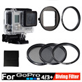 Gopro Accessories kit Diving Filter protector 3pcs/set 52mm Circular Polarizer CPL UV ND4 Dive Filtors in water For Go Pro 4 3+