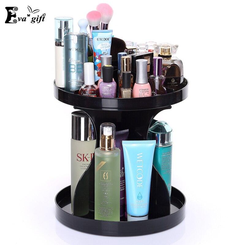 Fashion rotating cosmetic box for skincare bathroom makeup storage dresser cosmetic organizer