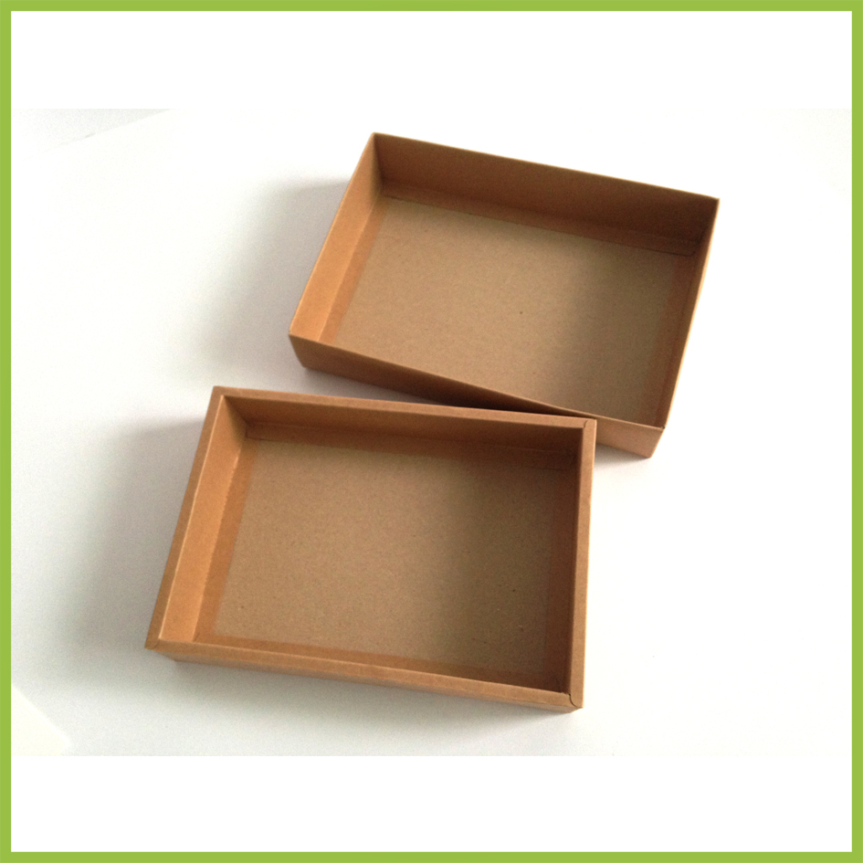 DHL 50Pcs/Lot 23.3*15.2+3cm Vintage Kraft Paper Cardboard Pack Boxes With Lid Gift Postcard Jewelry Kraft Paper Packing Boxes