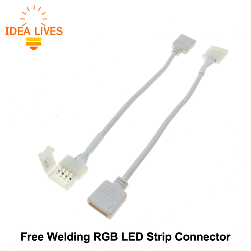 Free Welding RGB LED Strip Connector 4pin 10mm 5pcs/lot new 5pcs 2pin 3pin 4pin led connector l t x shape fpc adapter free welding for 8mm 10mm 3528 2812 5050 rgb light strip