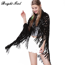 BRIGHT GIRL Suede Triangle Tassel Scarves Retro Cotton Hollow Shawl Pashmina